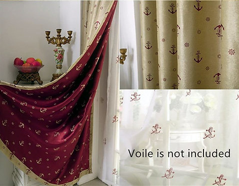 BLOCKOUT EYELET CURTAIN Double-side pattern RED