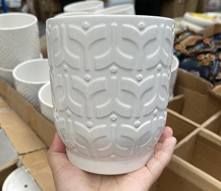 Simple Plain white Ceramic pots W 14cm x H 16cm #1