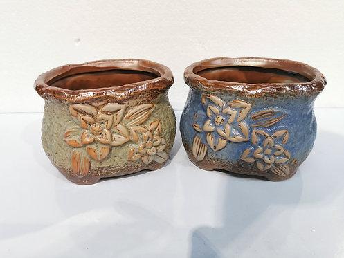 Pair Small Hand Painted Ceramic Succulents Pots Vintage Flower #1
