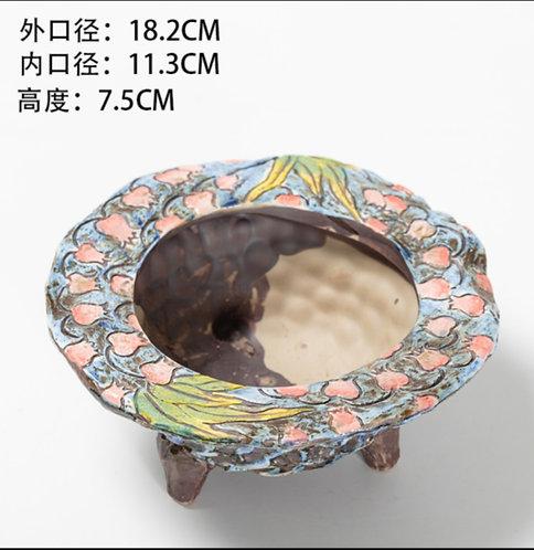 Hand Painted Round Flower Cacti Succulent Pots Blue 18.2cm width x 7.5cm height