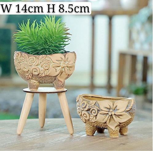 Pair 3D Flora Ceramic Oval Succulent Pots 14cm width