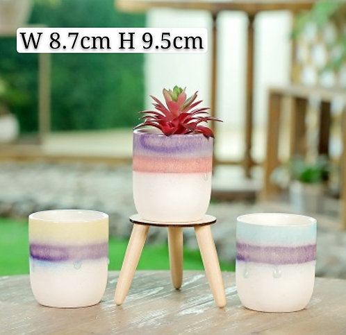 Set of 3 Gloss Multi-color Selection Vase 9.5cm Height