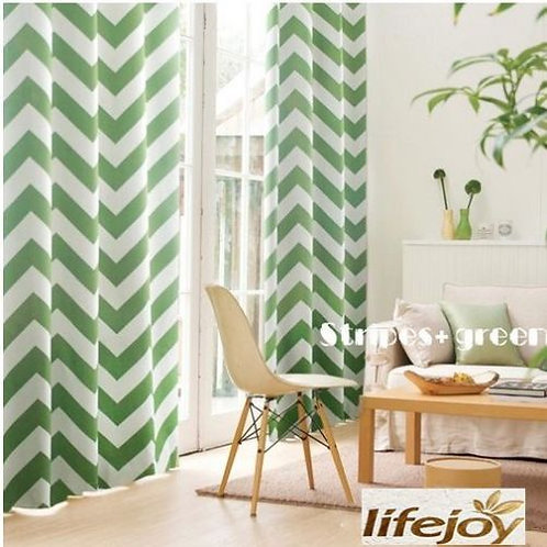 Natural Fabric Curtain Green Zig Zag