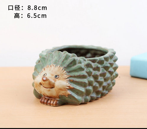 Animal Collection - Ceramic Succulents Pots Green Hedgehog 8.8x6.5cm