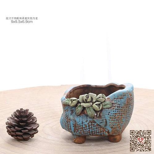Hand Painted Blue Boat Succulent Pot 9cm x 10cm