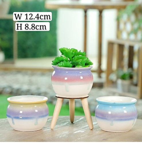 Set of 3 Gloss Multi-color Selection Fat Bowl 12.4cm width