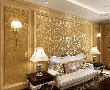 WALLPAPER ROLL DAMASK EMBOSSED FEATURE 3D GOLD