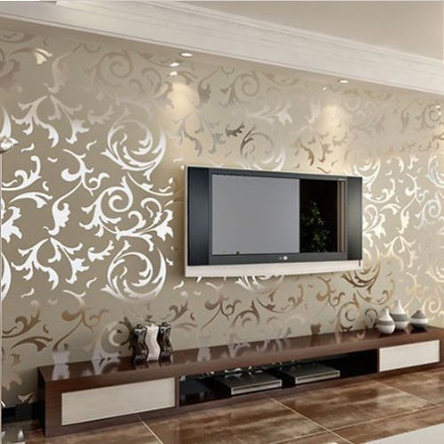 WALLPAPER ROLL EMBOSSED 3D Silver Brown