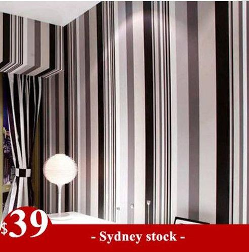Black White Beige Stripe Pro Wallpaper 10M Roll