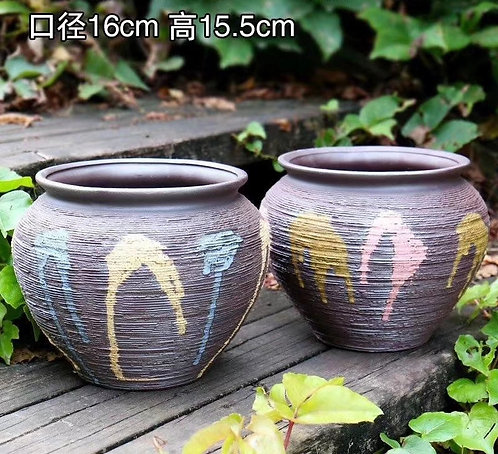 Pair Large Premium Purple Clay Succulents flower pots Bowl 16cm x 16cm