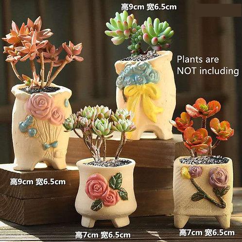 Selection of 4 Cactus Succulent Pots Ceramic Flower Plant pots Garden Handmade 1