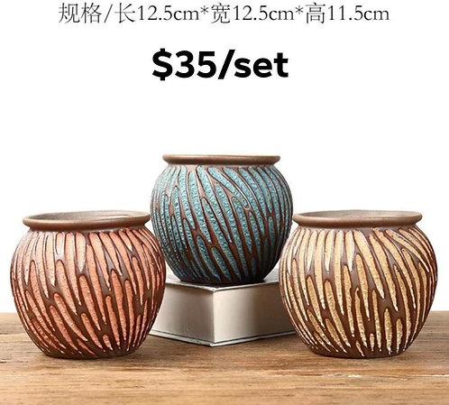 Set of 3 Medium Premium Purple Clay Succulents flower pots 12cm