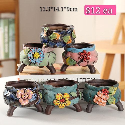 Hand made painted Ceramic Succulents Pots set of 6 Medium