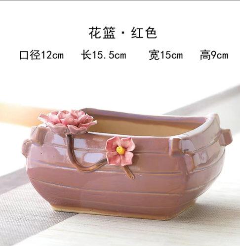 3D Flower Gloss Glaze Square Succulent / Cacti Pots 01 Pink