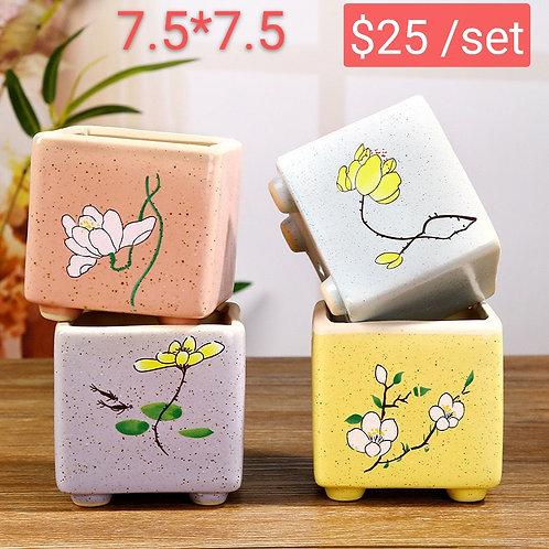 4 Seasons Flora Cucculent Pots Ceramic Cube 7.5cm x 7.5cm