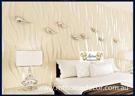 10m Wallpaper- Luxury Silver Beige White Violet