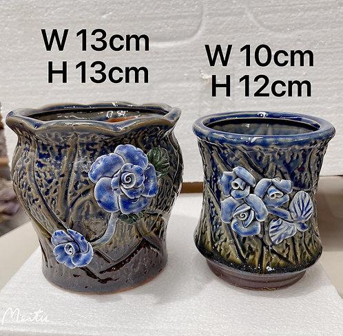 Pair Hand Painted 3D flower Square Hand Painted Ceramic Succulents Pots
