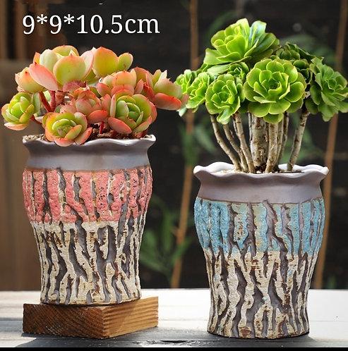 Pair Premium Purple Clay Succulents flower pots Tall 10.5cm
