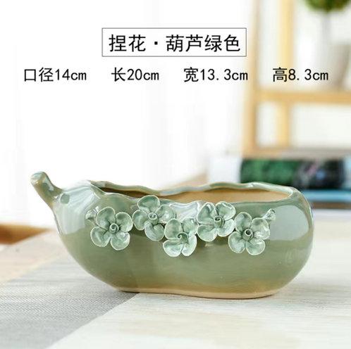 3D Flower Gloss Glaze Square Succulent / Cacti Pots 010 Green Ladle