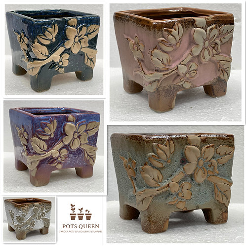 3D flower Square Hand Painted Ceramic Succulents Pots 5 Colors 11cm W x 10cm H
