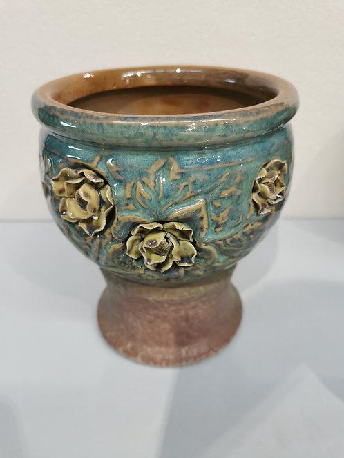 3D Flower Hand Painted Tall Ceramic Succulents Pots Vintage Vase