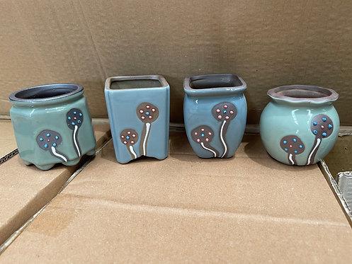 Set of 4 Hand Painted Plate Flower Cacti Succulent Pots Multi Shape Color