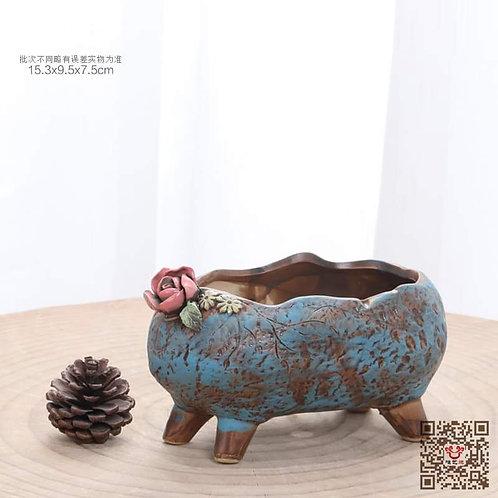 Hand Painted Blue Oval Succulent Pot 15cm x 10cm