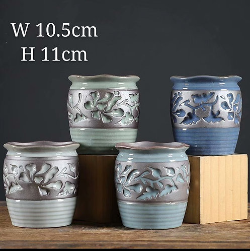 Set of 4 Premium Purple Clay Succulents flower pots Curved