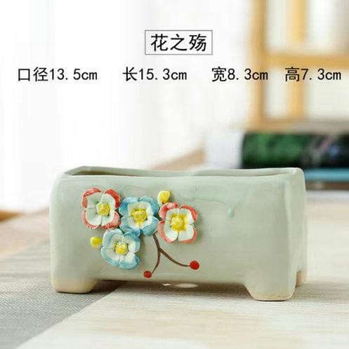 3D Flower Gloss Glaze Square Succulent / Cacti Pots 012 Rectangular Green
