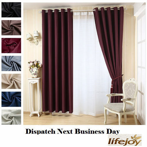 BURGUNDY Blockout Curtains 3 Layers Pure Fabric