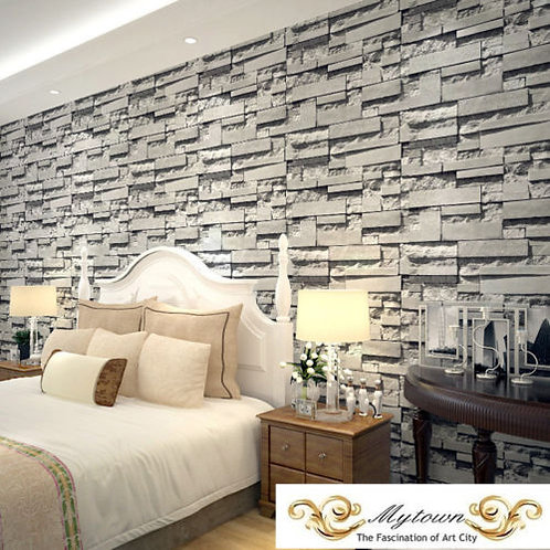 Grey STONE Natural Colour Slate 3D Wallpaper Roll