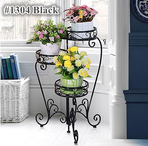 Metal Indoor & Outdoor 3 Pots Stand #1304 Black