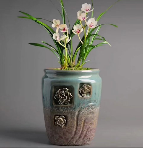 3D Flower Hand Painted Tall Ceramic Succulents Pots Vintage Rust Pink #2