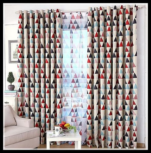 Nordic Style Curtain Moroccan Triangle Red Beige