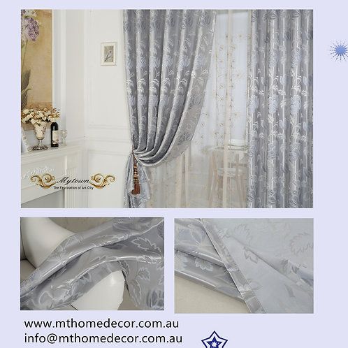 LUXURY BLOCKOUT EYELET CURTAINS SILVER LOTUS