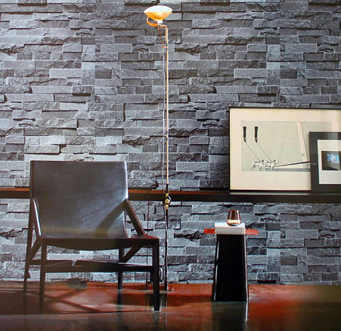 3D Brick STONE Slate Grey Project Wallpaper Roll