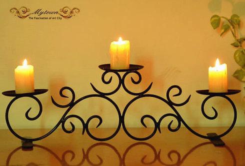 Home Wedding Candle Holder 3 Trays Black