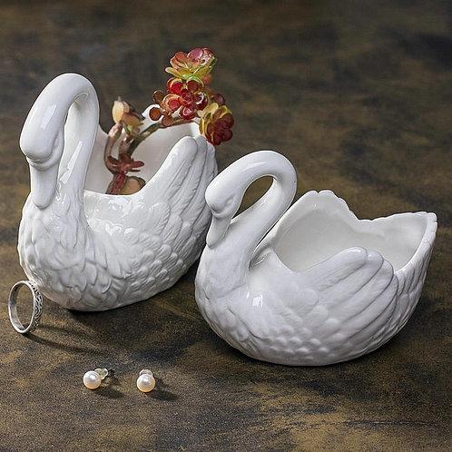 Pair of Swan Succulents Pots Gloss Glaze White