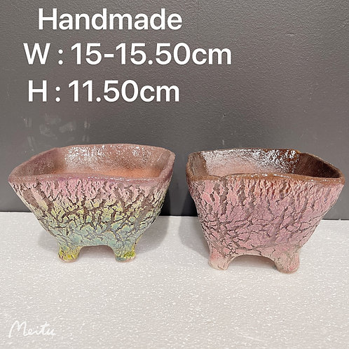 Ceramic Cracked looking Handmade Hand Painted Square Pots Pair