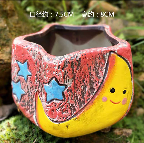 Hand painted small pots - Moon - Red 8cm height