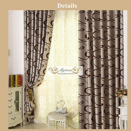 DOUBLE SIDE PATTERN BROWN LATTE BLOCKOUT CURTAIN