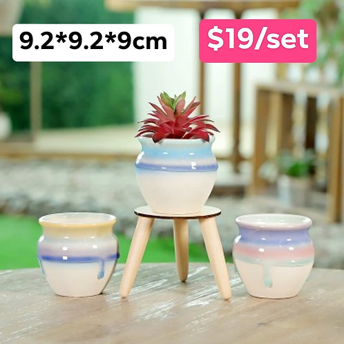 Set of 3 Gloss Multi-color Selection Round 9.2cm Height