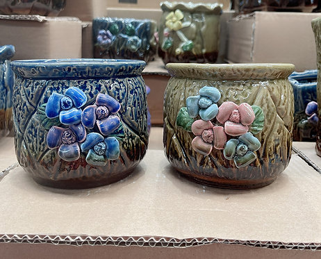 Pair Round Hand Painted 3D flower Square Hand Painted Ceramic Succulents Pots
