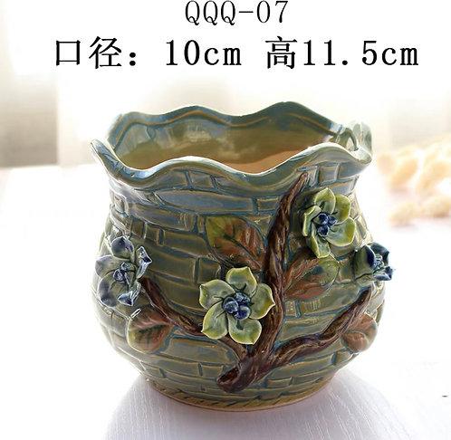 Gloss Glaze - 3D Flower Hand made Green
