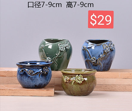 4 Seasons Multi-Design Succulents Ceramic Pots Glossy Glaze 7-9cm