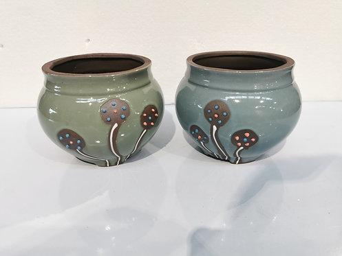 Pair Medium Size Round Ceramic Succulents Pots Green Blue