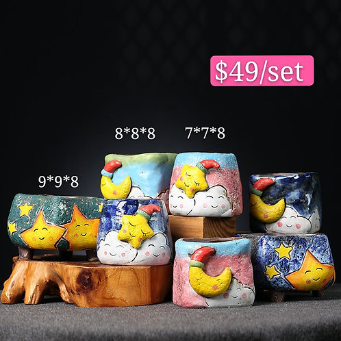 Hand painted Cute Moon & Star Ceramic pots 7pcs
