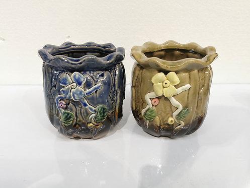 Pair 3D Flower Hand Painted Ceramic Round Succulents Pots Gloss Glaze #3