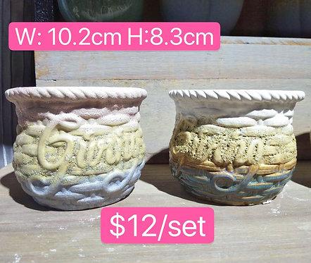 Ceramic Succulent pots pair 10.2cm