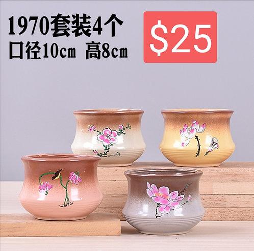 4 Seasons Flora Multi-Design Succulents Ceramic Pots Glossy Glaze 10 x 8cm